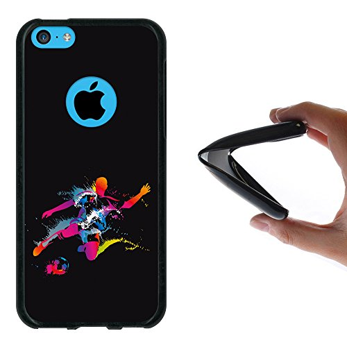 iPhone 5C Hülle, WoowCase Handyhülle Silikon für [ iPhone 5C ] Fußball, der den Wand bricht Handytasche Handy Cover Case Schutzhülle Flexible TPU - Schwarz Housse Gel iPhone 5C Schwarze D0021