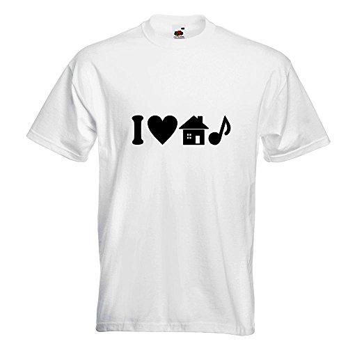KIWISTAR - I Love House Music T-Shirt in 15 verschiedenen Farben - Herren Funshirt bedruckt Design Sprüche Spruch Motive Oberteil Baumwolle Print Größe S M L XL XXL Weiß