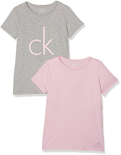 Calvin Klein Mädchen T-Shirt 2 Pack SS Tee, Mehrfarbig (Grey Htr/Unique 901), 164 (Herstellergröße: 14-16) (Mädchen Shirt Kleine)