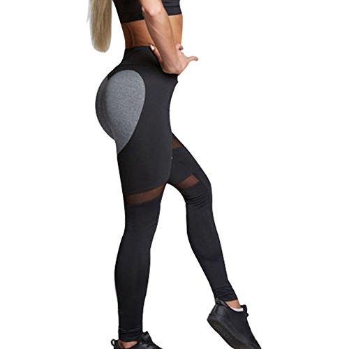 Yoga Hosen, Yoga Pants, Damen Pilates / Sport / Martial Arts / Fitness, Gymnastik / Tanz Hosen, Pfirsichherz geformt Tech Mesh Yoga Leggings Hosen, Yoga Hosen Bauch Kontrolle Workout Yoga Hosen Leggings (L, Schwarz) - 6