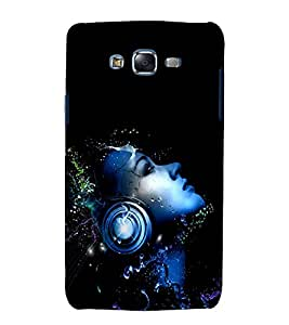 printtech Music Headphone Girl Back Case Cover for Samsung Galaxy Core i8262 / Samsung Galaxy Core i8260
