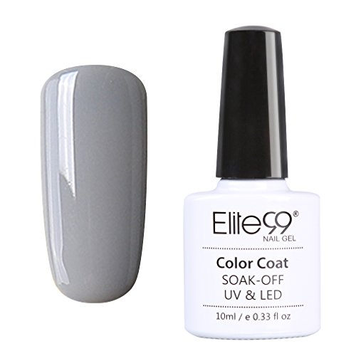 Elite99 Vernis A Ongles Semi Permanent Gel UV ou LED Soak Off Manucure Serie Gris 10ml 005