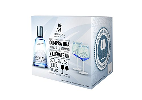 Gin Mare Geschenkbox - Gin Mare Mediterranean Gin mit 2 Ballon Gläsern als stilvolles Geschenkset - 42,7% Vol (1 x 0,7 l)