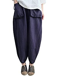 TUDUZ Damen Vintage Oversize Haremshose Pumphose Ballonhose Pluderhose Yogahose Aladinhose Harem Sommerhose