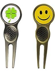 pinmei Golf Divot reparación herramientas con pelota de Golf Marcadores, varios patrones para selección, Clover and Smile Ball Markers