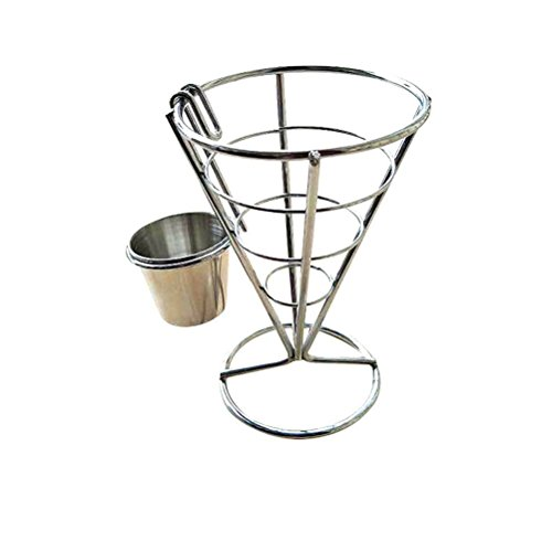 Miji French Fry Stand Cone Basket French Fry Chips Cone Metal Wire Basket with Sauce Dippers for Parties at Home/Picnic in The Backyard/Outdoor Events/Appetizers Appetizers (Pique-sauce)