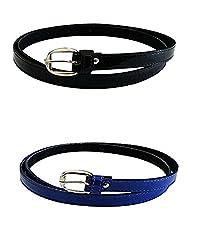 Glamio Girl's PU Leather Belts Set of 2 Combo (Black & Blue)(GLA/WOMENBELTS1/BKBLUE)