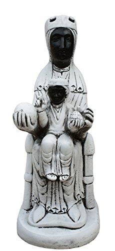 CATART Figura Estatua Exterior Virgen Montserrat para Jardin EN Piedra 25x60cm.