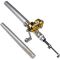 Hensych 96,5cm Mini Tragbar Tasche Aluminium Legierung Fish Pen Angelrute Pole mit Baitcast-Rolle ideal Geschenk für Vater 's Day