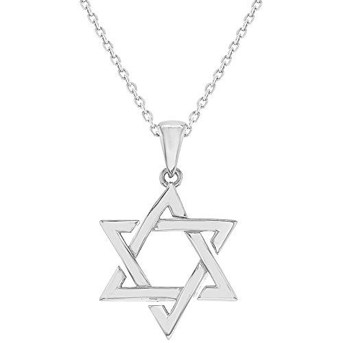 925argento Sterling ebraica Stella di David Ciondolo Collana 18