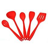 Silicone Kitchen Utensils Set Of 5, Cooking Tool Set Kitchen Utensils Heat-Resistant Silicone Kitchen Utensils, Non-Stick Pan Easy To Clean Kitchen Baking Tools Silicone Cooking Utensils Kitchen Utensils, Kitchen Gadgets Set, Red