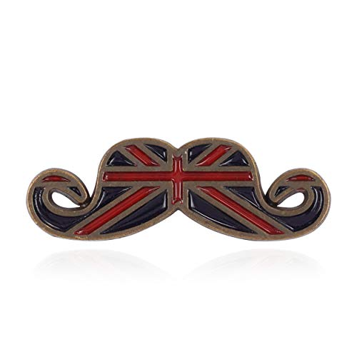 Panjatan Men's Brit Antique Moustache (Mooch) Stud Pin Brooch by WI Retail. (Brit Flag Design)