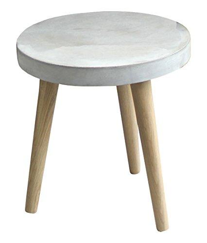 SIT-möbel table basse 9967–13 ciment, 82 x 82 x 43 cm, pieds en chêne plateau et béton léger, gris