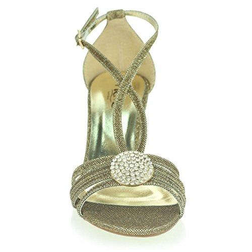 Donne Le Signore Spilla di cristallo Sandali con il Cinturino Diamante Magro Tacco Medio Sera Festa Nozze Ballo di Fine Anno Scarpe Taglia Bronzo