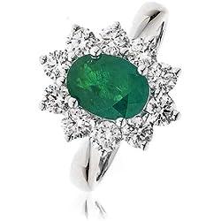 2, 50CT certificado/G VS2 esmeralda en forma de Oval con centro de corte brillante Redondo anillo de diamantes de Halo en forma de óvalo 18 K oro blanco