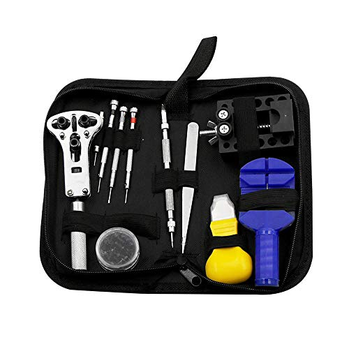 13PCS Universal Watch Repair Kit, Can Be Used for Watch Repair/Battery Replacement/Opening The Back Cover/Modifying The Length of The Strap Etc, with Carrying Case