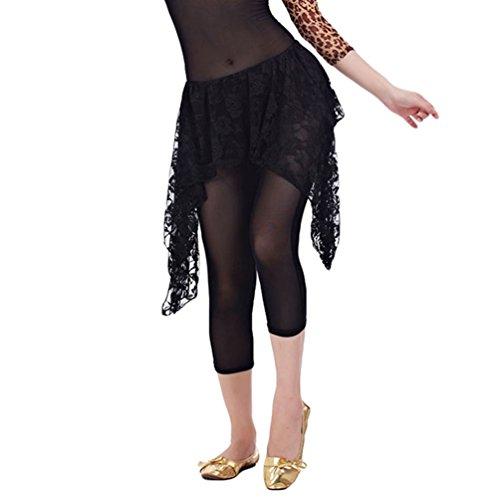 ZhiYuanAN Femmes 4Pcs La Danse Du Ventre Jupes Dentelle Pratique Costume Vêtements Costume De Danse Du Ventre Noir