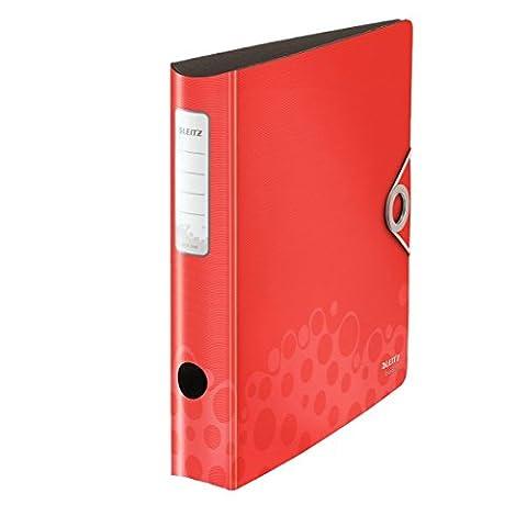 Leitz Multifunktions-Ordner, A4, Runder Rücken (6,5 cm Breite), Gummibandverschluss, Kunststoff, Active Bebop, Rot, 10480025