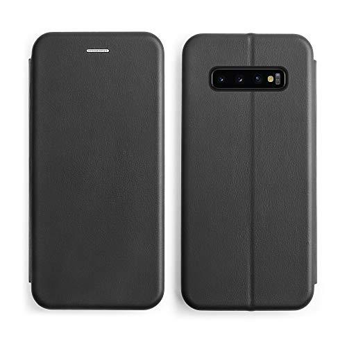 Starred Flip Leder Wallet Case für Samsung Galaxy S10 Stand Magnetic Cover Clamshell Case 360 Grad Schutz, schwarz Clamshell Case