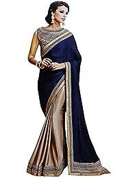 544c718109ae00 MySpace Women's Chiffon Silk Saree With Embroidery Work Blouse Piece  (65060_Blue&Beige)