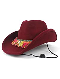 4b6bf7a9a2b CSNMALL Lady s Cowboy Hat Decorated with Tassel Ribbon Wool 56-59cm Fashion Felt  Hat Winter