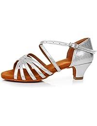 SWDZM Niñas Estándar de Zapatos de baile latino Satén Ballroom modelo-ES-301