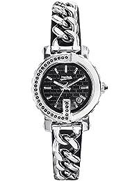 Reloj mujer JEAN PAUL GAULTIER–Point G Mini–acero + piedras–pulsera acero piel negro–8503602