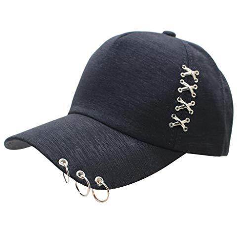 Kostüm Schönheit Piercing - VIccoo Frauen Männer Unisex Punk Rock Metall Cross Piercing Baseballmütze Hip Hop Street Style 3 Ringe Einstellbare Baumwolle Snapback Trucker Hat - Schwarz