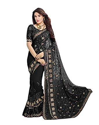 Craftsvilla Chiffon Saree With Blouse Piece (MCRAF78906166300-Black_Black_Free Size)