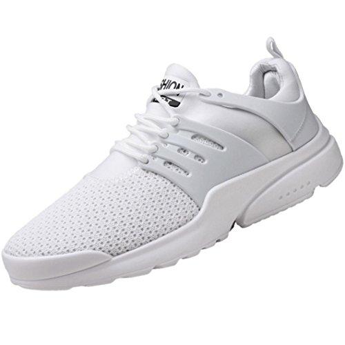 Mesh Atmungsaktive Laufschuhe Herren,ABSOAR Männer Gewebte Sportschuhe Mode Sneaker Lace-Up Freizeitschuhe 2018 Sommer Gym Skate Turnschuhe (EU:43/CN:45, Weiß)