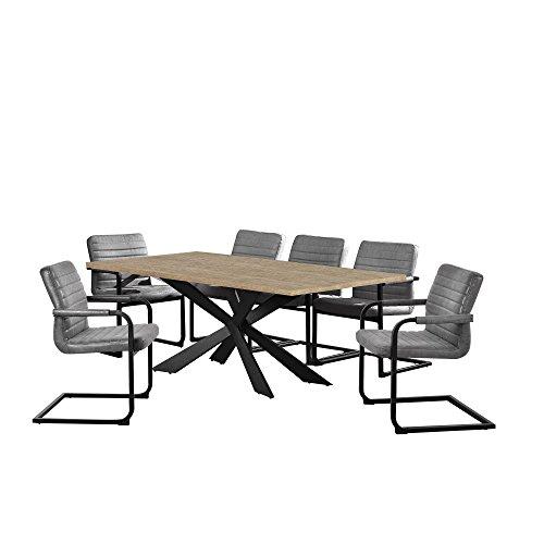 [en.casa] Esstisch Eiche Natur mit 6 Stühlen Freischwinger Gepolstert grau 200x100cm Esszimmer Essgruppe Küche