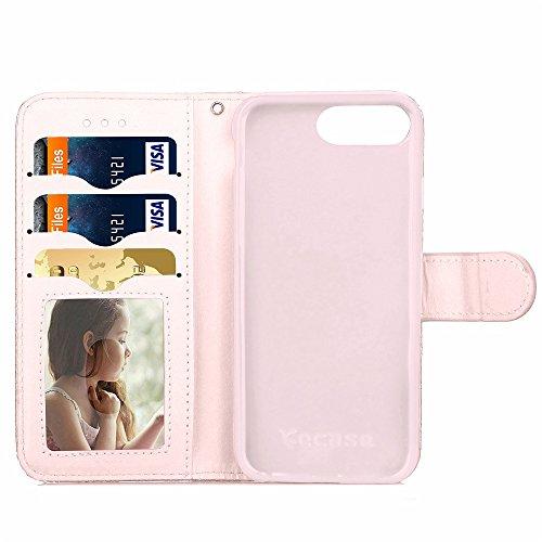 iPhone Case Cover Mischfarben-PU-Leder-Kasten-Mappen-Kasten mit Karten-Bargeld-Slot kleine Blumen-Muster-Fall-Standplatz-Abdeckungs-Fall-weicher TPU-Abdeckung für Apple IPhone 7 plus ( Color : Brown , White