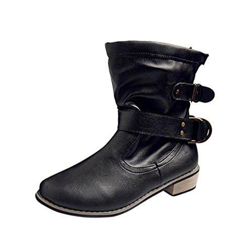ESAILQ Femmes Dames Plat Cheville Bottes Décontractées Boucle Chaussures à Talon Bas Martin Bottes