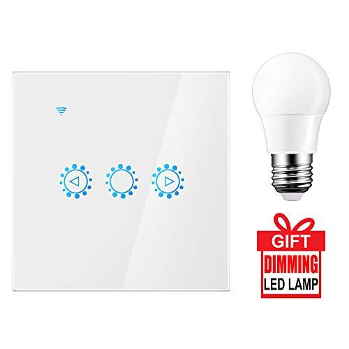 WiFi Smart Switch, AOZBZ 300W WiFi Dimmer Switch Touch Control Stufenloser Dimmer in der Wand Wireless-Fernbedienung kompatibel mit Alexa Google Assistant mit 3W E27-Lampe (Neutral Line Need) -