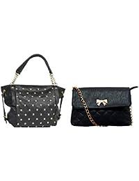 Lychee Bags Jennet Satchel Bag And Zina Sling Bag (CMB2-LBHBPU29BLK-1-LBHBPU34BLK, PU, Black)