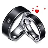 Xiuxiu Paar Ring,Modeschmuck Titan Stahl Zirkon Ring Männer und Frauen,für Paare Verlobung Hochzeit Valentinstag und Geburtstagsgeschenke,Schmuck Zubehör,Enthält Geschenkbox