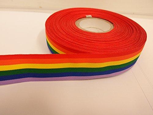 2 Meter x 25mm Regenbogen -Band, mehrfarbig gestreift Farbige, Homosexuell Pride, doppelseitig LGBT 25 mm