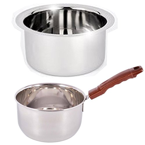 Jalpan Cookware Combo - Sauce pan 1.5 Liter. - Tope 1 Liter - Stainless Steel - Flat Bottom - Induction & Gas Compatible - 2500ml.  available at amazon for Rs.399