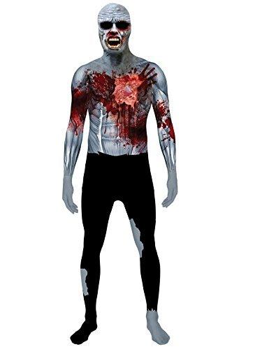 Zombie Morphsuit i Wound Schlagendes Herz Halloween grau schwarz rot M