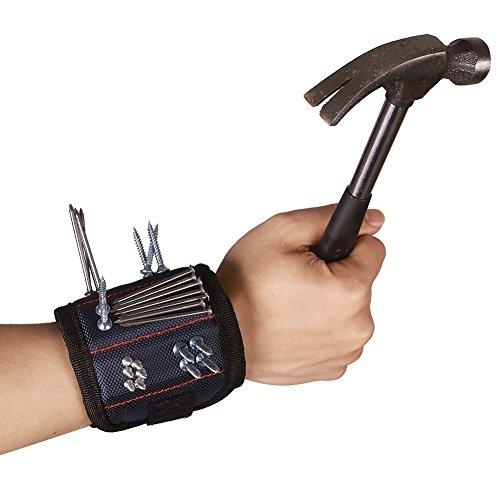 Hense magnetisches Armband mit 6 leistungstarken Magneten für Schrauben, Nägel, Bohrung, Schere, und kleine Werkzeuge, Werkzeug Gürtel für Heimwerker, Männer, Frauen.Nägel und Schrauben Tasche -Best Werkzeug Geschenk (hsz-12)