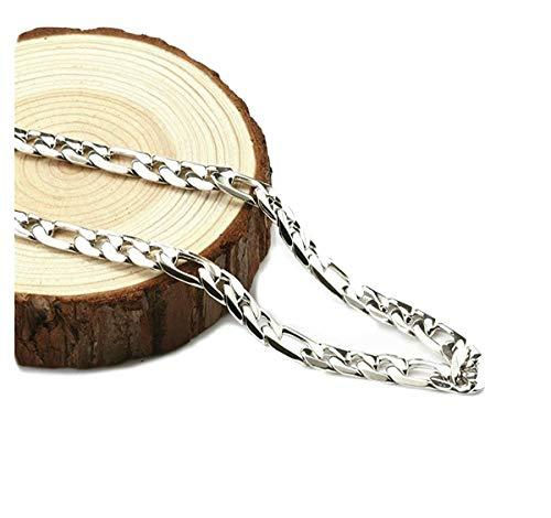 Figaro - Collana da donna in oro bianco 14 ct, con chiusura a moschettone, 3 mm, taglio a diamante, sottile per ciondoli e ciondoli e 14ct metallo con base placcato oro, cod. NA