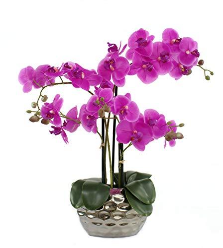 Kunstpflanze Orchidee XL mit Keramiktopf - ca. 53cm hoch (lila)