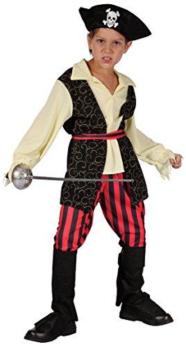 Magicoo Karibischer Piratenkostüm Kinder Jungen Größen 110 bis 140 - Pirat Kostüm Fasching Kind & Piratenhut (122/128)
