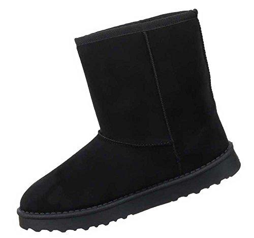 Damen Stiefeletten Schuhe Warm Gefütterte Fransen Boots Schwarz Schwarz