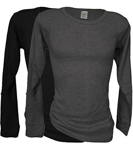 2 Funktions- Thermo- Unterhemden für Herren - Langarm - Sport- und Arbeits- Unterwäsche (7, Grau / Schwarz)