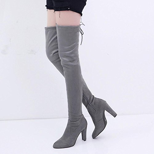 Amlaiworld Femmes Stretch En Similicuir Slim Boots Hautes Chaussures À Talons Hauts Gris