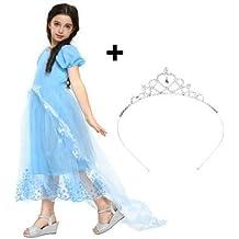 Disfraz de Cenicienta, Vestido de Princesa o Traje de Hadas con tiara y tren elegante - para carnaval, cumpleaños o Navidad para niñas de 3-4 años