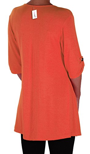 EyeCatch Plus - Tunique basique col en V - Shellie - Femme - Grandes Tailles Orange