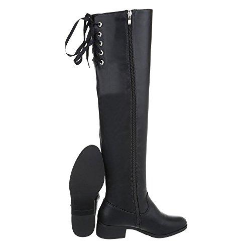 Ital-Design Overknees Damenschuhe Overknees Blockabsatz Blockabsatz Reißverschluss Stiefel Schwarz A-12-1