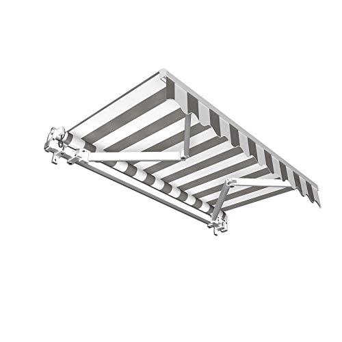jarolift Gelenkarmmarkise Basic Markise mit Volant für Terrasse Garten Balkon, 250 x 150 cm (Breite x Ausfall), Stoff hellgrau/Weiss Blockstreifen